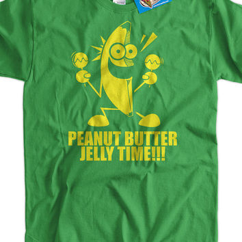 Funny T-Shirt Geek T-Shirt Banana Peanut Butter Jelly Time T-Shirt Gifts for Dad Screen Printed T-Shirt Tee Shirt T Shirt Mens Ladies Womens