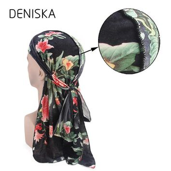 DENISKA Fashion Men's Print Durags Bandanas Turban Headband Velvet Men DuRag Floral Waves Caps Turban Headwear Hair Accessories