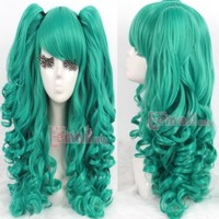 Gothic Lolita Full Wig Curly Wave Hair Long Natural Cosplay Wig Clips In/on Ponytails (Green)