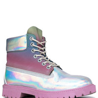 Y.R.U. STR8 UP Pink Reflective Hologram Reflective Rainbow Upper