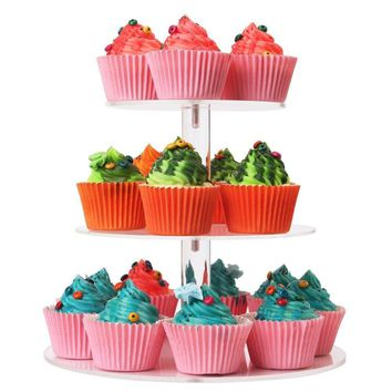IUME 3 Tier Cupcake Stand for Family Parties Round Party Wedding Birthday Clear Tree Tower Acrylic Cupcake Stand Dessert Display Holders Fantastic Stacked Party Cupcake Tree