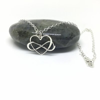 Infinity Heart Necklace Sterling Silver Infinity Pendant Silver Heart Polyamory Charm Large Pendant Eternity Friendship Gift Lover Jewelry