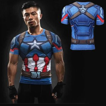Sports Shirt men Captain America Roleplay T-Shirt Avenger Super Hero Dress Up 3D Print Run Quick Dry GYM Tight Tops MMA Tees