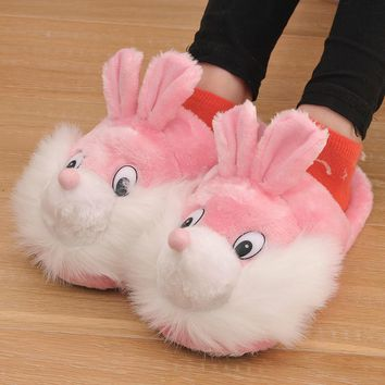 2017 New Winter Cotton Fabric Women Slippers Animal Prints Cartoon Lovely Squirrel Sm