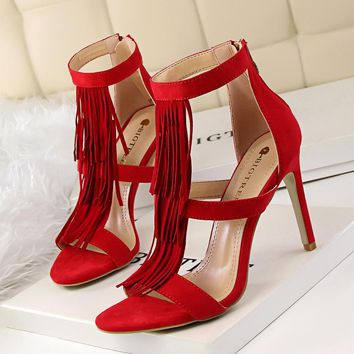 Tassels Open Toe Straps Stiletto High Heels Sandals