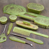 Art-Y-Zan Green Vanity Set - 1940's Dresser Set - Vintage Art Deco Dressing Table Set - Hand Mirror - Brush - Comb - Gold Floral Design