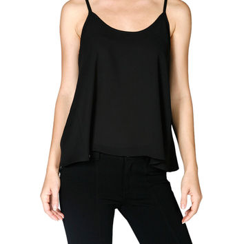 Draped Spaghetti Strap Chiffon Top