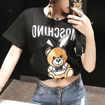 DCCKVQ8 Moschino' Women All-match Fashion Casual Letter Cute Cartoon Rabbit Bear Pattern Print Short Sleeve T-shirt Top Tee