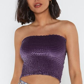 Shirred Thing Velvet Bandeau Top