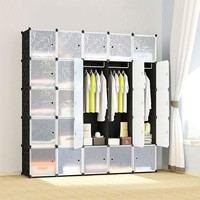 Black And White Portable Wardrobe Closet Organizer Made Of Cubes
