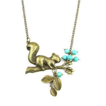 antiqued vintage branch trunk squirrel leaf blue turquoise beaded beadwork metalwork necklace pendant with 16 inches chain handmade jewelry