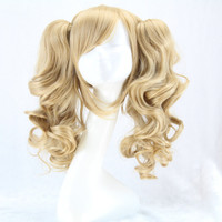 Long Curly Cosplay Lolita Wig With 2 Ponytails Batman Suicide Squad Harley Quinn Synthetic Hair Blonde Wigs Peruca Pelucas