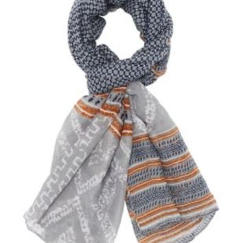 Blue Combo Geomtetric Printed Panel Scarf by Charlotte Russe