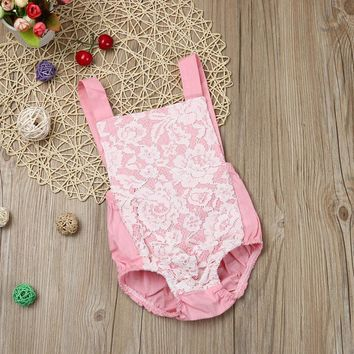 2017 Lovely Baby Girls Pink lace Rompers Backless Newborn Infant Rompers Jumpsuit Lace Sunsuit Kids Clothes Outfits One-pieces