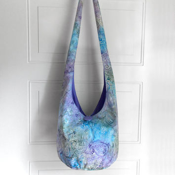 Hobo Bag Cross Body Bag Hippie Purse Sling Bag Boho Bag Slouch Bag Hobo Purse Hippie Bag Paisley Hobo Bag Handmade Bag Batik Bohemian Purse