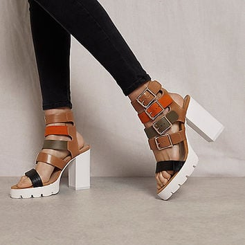 Brown RI Studio buckle block heel sandals - sandals - shoes / boots - women