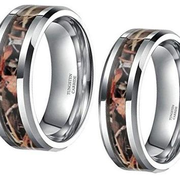 CERTIFIED 6mm 8mm Camo Trees Leaves Hunting Tungsten Rings