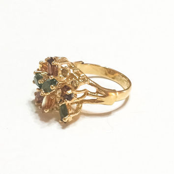 18K Gold Plated Cocktail Ring, Branch Motif, Fall Colors, Statement Ring, Green, Amber, Size 8, 1980s