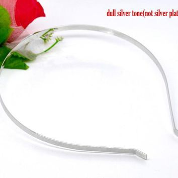 DoreenBeads 10 Silver Tone Headbands Hair Band 14.5x12.5mm 5mm wide (B12459), yiwu