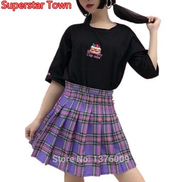 NEW Purple Plaid Pleated Skirt Women Kawaii Harajuku Mini Japan Uniform High Waist School Girl Cute Skirts Chic Style