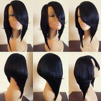 Medium Side Parting Flip Straight Inverted Bob Synthetic Wig - Black | Fwresh Beauty