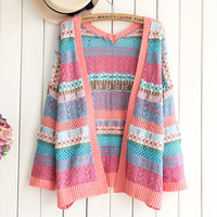Colorful vintage retro totem cardigan