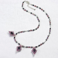 Beaded Rhombic Necklace, Black and Rose, blue gold stone, 0802-3ne-blkros