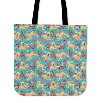 Wheaten Terrier Flower Linen Tote Bag - Promo