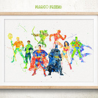 Justice League - Watercolor, Art Print, Home Wall decor, Watercolor Print, Superhero Poster
