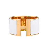 Hermes White Clic Clac H Extra Large Bracelet With Gold-Plated Hardware