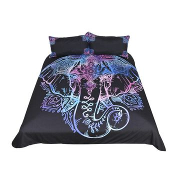 BeddingOutlet Elephant Bedding Set Queen Size Duvet Cover  Lotus Flower Bed Cover Bohemian Floral Bedclothes 3pcs