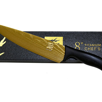 """Professional Chef Knives With 8"""" Titanium-Coated High-Carbon Blade"""