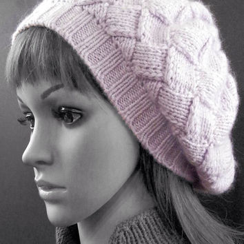 Hand knitted entrelac tam