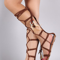 Liliana Braided Suede Lace Up Gladiator Flat Sandal