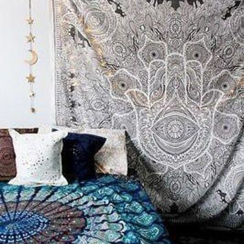 Taupe Hamsa Hand Yoga Zen Queen Size Boho Tapestry