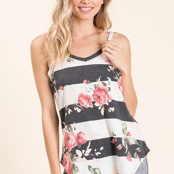 (pre-order) Charcoal Striped Floral Tank
