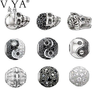 DIY Jewelry Accessories Skull Charms Ying Yang Beads fit for Pandora Bracelets Necklaces Chains Woman's Man's Gifts