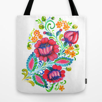 Flowers in Hot Pink  Tote Bag by Ekaterina Chernova