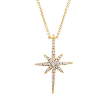 0.24ct 14k Yellow Gold Diamond North Star Necklace