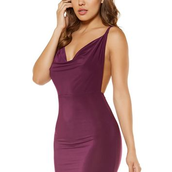 Cowl Neck Mini Dress with Low Back