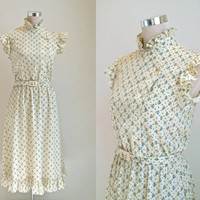 Vintage Floral Dress - Cream With Pretty Blue Roses - 70's Summer Peasant / Midi Dress