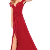 Red Casual Criss Cross Strappy Slit Maxi Dress