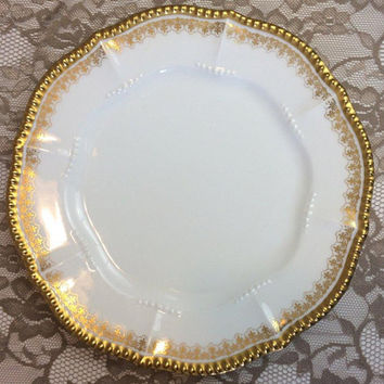 "6 Limoges Elite Fleur Di Lis Luncheon Plates 9 5/8"", Gold Embossed Beading, Vintage French White Porcelain Dishes, Elegant Wedding Serving"
