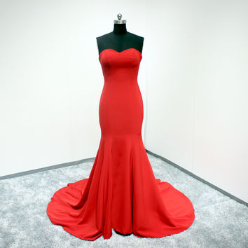 Red Sweetheart Neck Sexy Slim Mermaid Spandex Satin Long Evening Dress