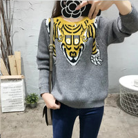 FW16 Women's Fashion Casual Round-neck Long Sleeve Pullover Knit Tops Sweater [8511505095]