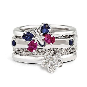 Sterling Silver & Gemstone Stackable Summer Sensation Ring Set