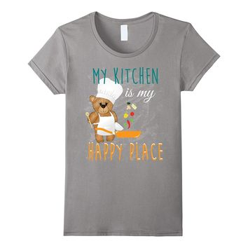 Bear Cooking T-shirt - My kitchen is my happy place