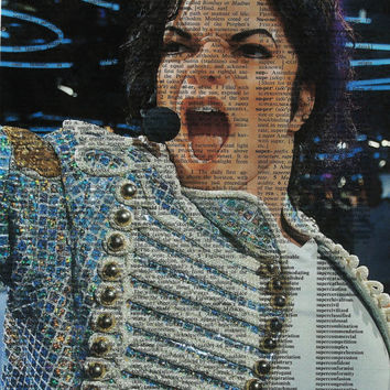 Michael Jackson Poster, Michael Jackson Art Print, Dictionary Art Print,Wall Decor,Print on Dictionary Page, Poster,Michael Jackson Picture