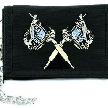 Double Tattoo Gun Tri-fold Wallet w/ Chain Rockabilly Ink Clothing