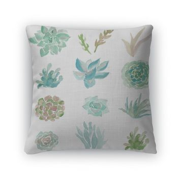 Throw Pillow, Cute Watercolor Succulent Plants On White